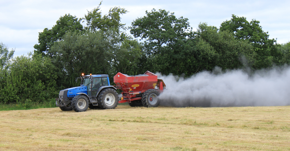 Agri lime being spread on silage ground